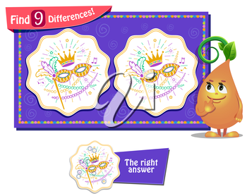 visual game for children and adults. Task to find 9 differences . masquerade festival