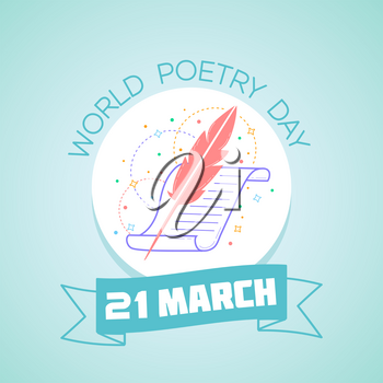 Calendar for each day on March  21. Greeting card. Holiday - World Poetry Day. Icon in the linear style
