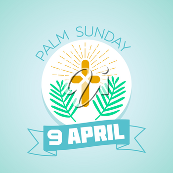 Calendar for each day . Greeting card. Holiday - palm Sunday. Icon in the linear style
