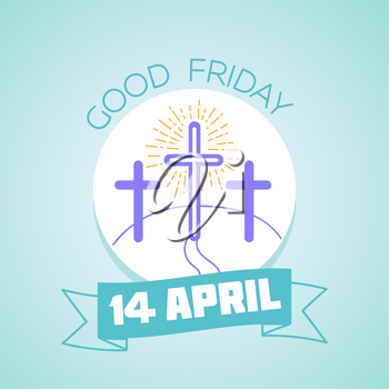 Calendar for each day . Greeting card. Holiday - Good Friday. Icon in the linear style