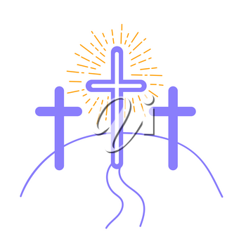 concept of the crucifixion in the form of 3 crosses and the way of salvationHoliday - Good Friday. Icon in the linear style