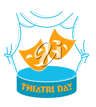 Greeting card. Holiday -  World Theatre Day. Icon in the linear style
