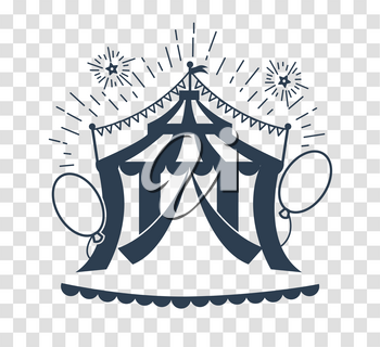 Icon of the circus tent for logo. silhouette icon in the linear style
