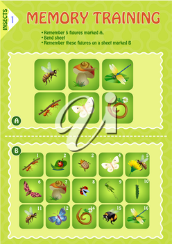 Memory game children. learning of Insects. Memory training
