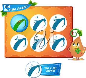 visual game for children and adults. Task the find right shadow mosquito