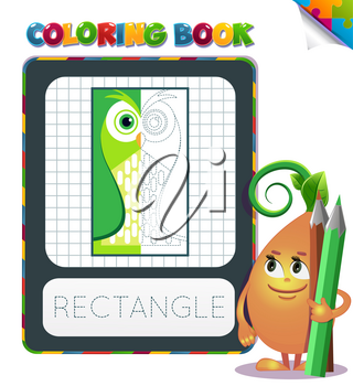 Half colored geometric form, the coloring book to educate preschool kids , the kid educational game to color the colorless half by sample.