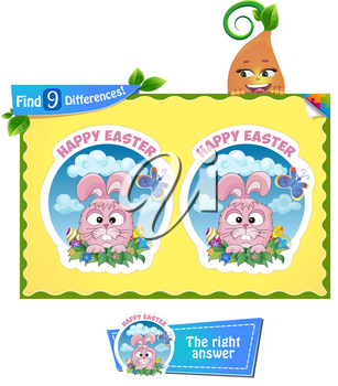 visual game for children and adults. find 9 differences. Easter holiday