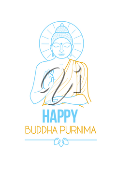 banner, greeting card on the holiday - buddha purnima. Icon in the linear style