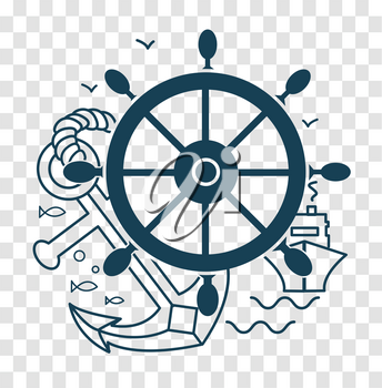 silhouette of travel, sea cruise in the form of sea rudder, anchor, ship. Icon in the linear style