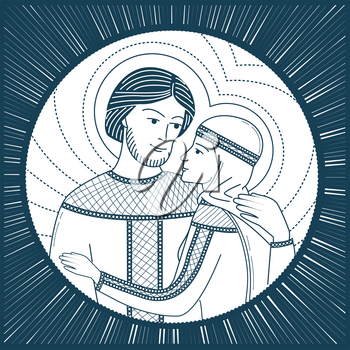 Icon of love. saint Peter and Fevronia Muromskie, slovyane in Russia. Icon, silhouette in the linear style
