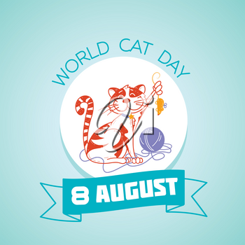 Calendar for each day on 8 august. Greeting card. Holiday - World Cat Day . Icon in the linear style
