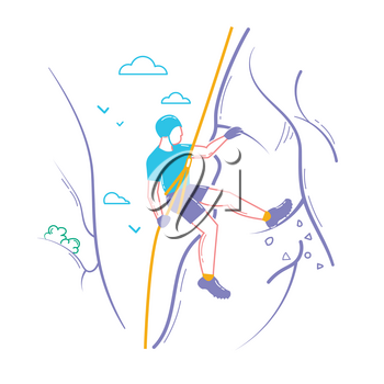Icon of a man  climber climbing a mountain. Icon in the linear style