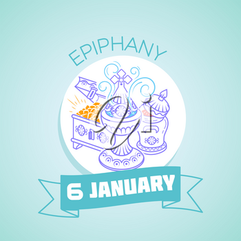 Calendar for each day on January 6. Greeting card. Holiday - Epiphany. Icon in the linear style