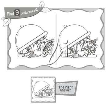 visual game for children and adults. Task to find 9 differences in the tray of food. black and white vector illustration
