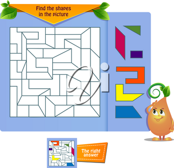 educational game for kids and adults . Thinking Puzzles . Task game Find the shapes in the picture