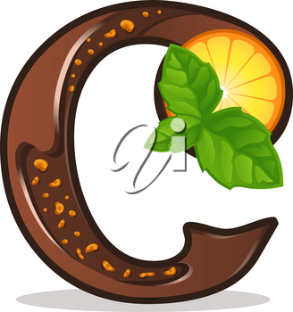 Cards for children for learning the alphabet. Letter c as chocolate, in the form of candies and cakes . Vector Illustration