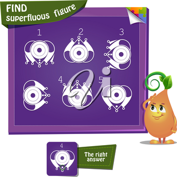 educational game for kids and adults, puzzle. development of logic, iq.ask game find superfluous figure