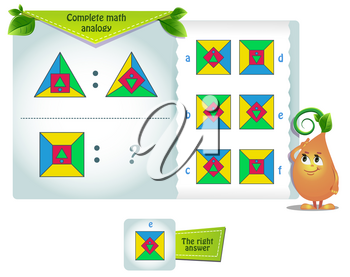 educational game for kids and adults development of logic, iq. Complete math analogy