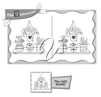 visual game for children and adults. Task to find 9 differences in the illustration on the school board. black and white vector illustration