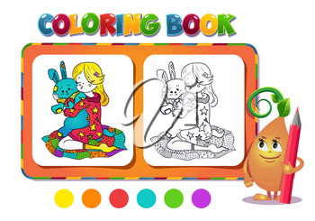 Coloring book girl with a toy- vector illustration.