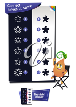 educational game for kids and adults. development of logic, iq. Task game connect halves of shape