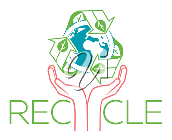 banner about recycle as a sign recycling arrows symbol with Earth globe inside and hands for the symbol of environmental protection. Recycle icon  in the linear style