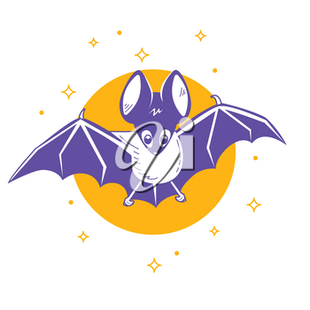 Icon of the bat night on the background of the moon. Icon in the linear style
