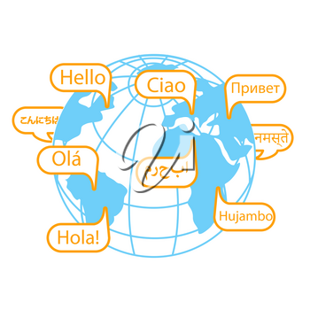 concept of communication in different languages in the form of earth and greetings. Icon in the linear style