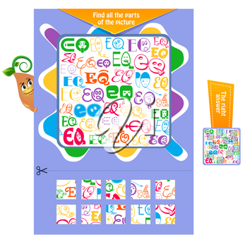 Logic puzzle game for children and adults. development of attention. Task game for children  find all the parts of the picture. Printable page for brainteaser book.