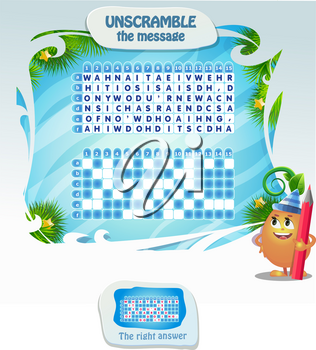 new year puzzles for kids and adults development of logic, iq. Task game for children unscramble the message. Printable page for brainteaser book.