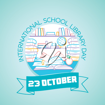 Calendar for each day on october 23. Greeting card. Holiday -  International School Library Day. Icon in the linear style