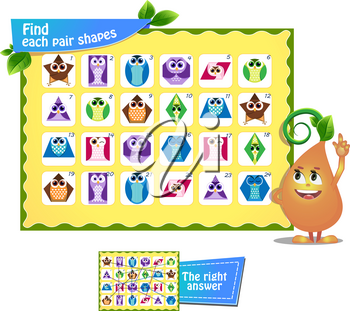 Visual game for children and adults. Find each pair geometry shapes. Educational game