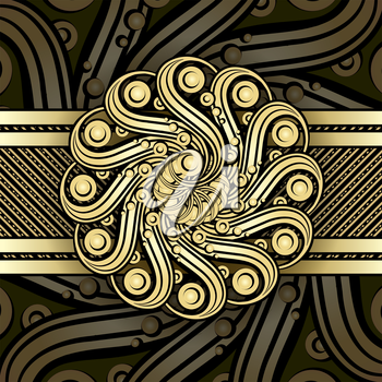 Steampunk background with metallic swirl elements.