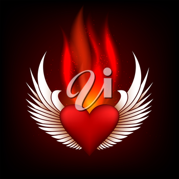 Burning heart with wings in flame tips. Grunge style. Colorful illustration.