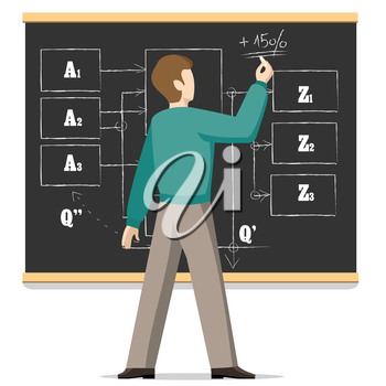 Illustration of businessman in strategy planning process near a chalkboard.