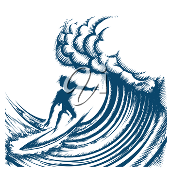 Surfer riding big wave drawn in retro engraving style. Isolated on white Background