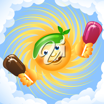 A vector illustration of sun and ice cream