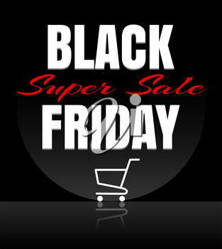 Black Friday sale design template. Black Friday banner with shopping cart. Vector illustration