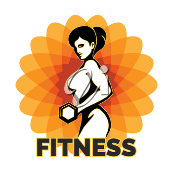 Woman Holding Weight Silhouette. Element for Sport Label, Gym Badge, Fitness Club design. Sport Symbol. Vector illustration.