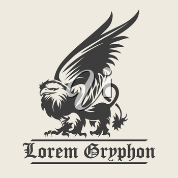 Hand drawn vintage Griffin, mythological magic winged beast. Design or Heraldry concept art. Isolated vector illustration