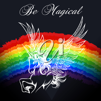 Hand drawn unicorn on the rainbow background with wording Be Magical. vector illustration.