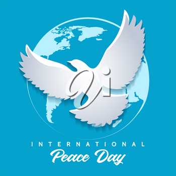 International Peace Day emblem. Dove of Peace against globe silhouette. Vector illustration