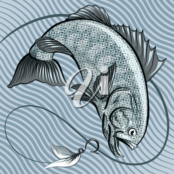 Illustration with big fish jumping out of the Water after a hook with feather bait against wavy pattern drawn in retro style using  grey blue palette