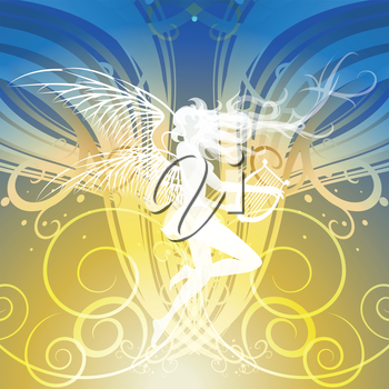 Illustration with dancing muse holding lyre in hands against festivebackground