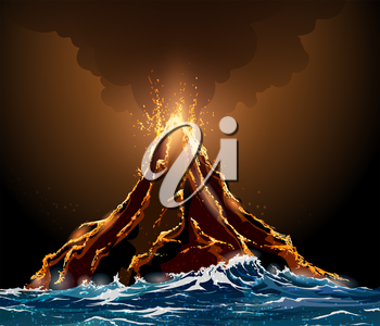 Eruption volcano island in the ocean. Lava flowing from the mountain against pillar of smoke.