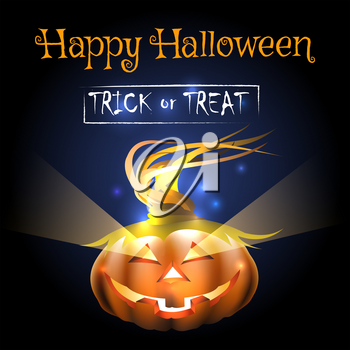 Happy Halloween Illustration of a Pumpkin and wording Written Trick or Treat. Vector Illustration.