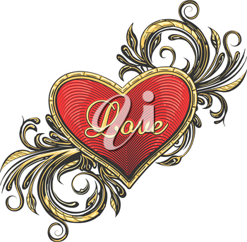 Heart With Flower Swirls and hand made Wording Love drawn in tattoo style. Vector illustration.