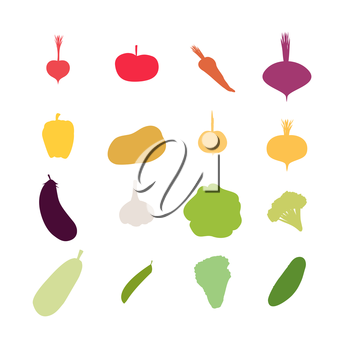 Vegetables silhouette icons Set. Vector illustration. Carrots and potatoes, beets and radishes, cabbage and garlic, Eggplant and tomato.