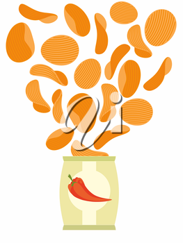 Corrugated potato chips with paprika in a pack. Vector illustration.