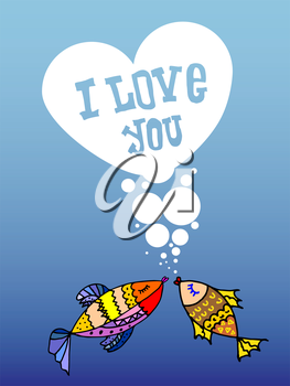 Valentine for gays, the heart of bubbles, cartoon fish in the sea, I love you, postcard for 14 February, Rainbow background, lgbt